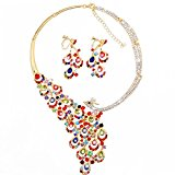 OFTEN (TM) Fahion Womans Rhinestone Crystal Necklace Earring Set Wedding Evening Travel