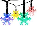 Outdoor Fairy Lights, Satu Brown 30 Snowflake LED 21ft 6.5M Garden Solar String Lights Multi-Color Outside Christmas Lighting Valentines Decorations for Patio Tree, Party