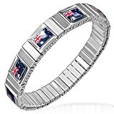 Stainless Steel Silver-Tone Australian Stretch Flag of Australia Patriotic Bracelet